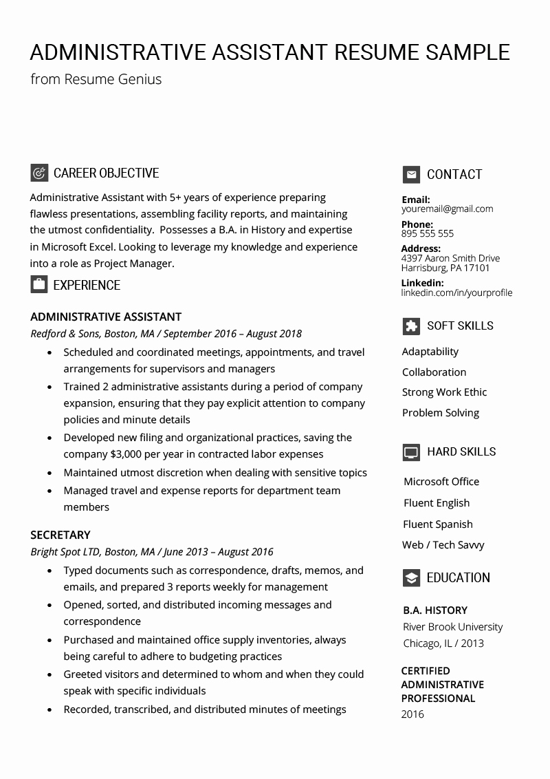 A Template for A Resume Inspirational Administrative assistant Resume Example & Writing Tips