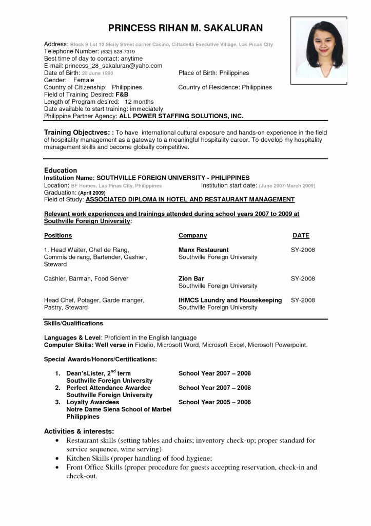 A Template for A Resume Inspirational Resume format Resume Cv
