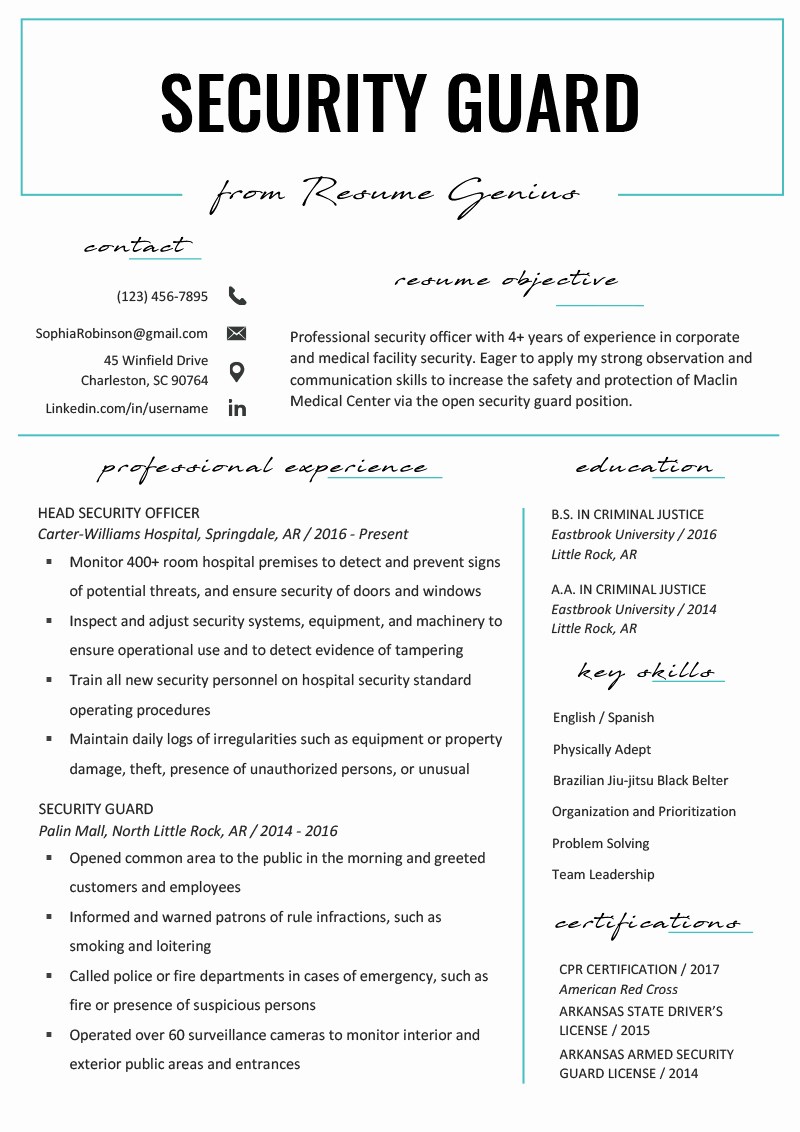 A Template for A Resume Inspirational Security Guard Resume Sample & Writing Tips