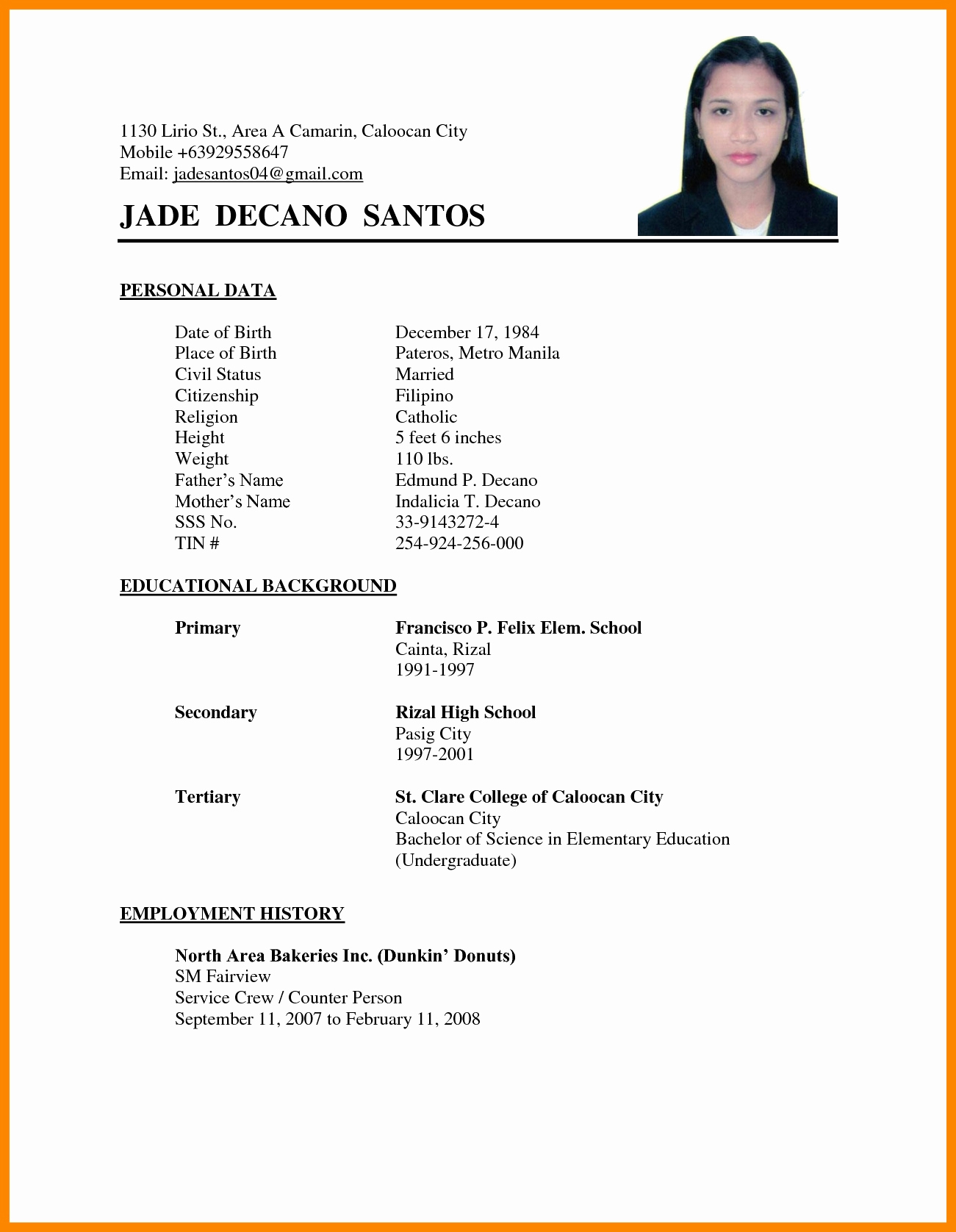 A Template for A Resume Luxury 11 Resume Sample format Philippines