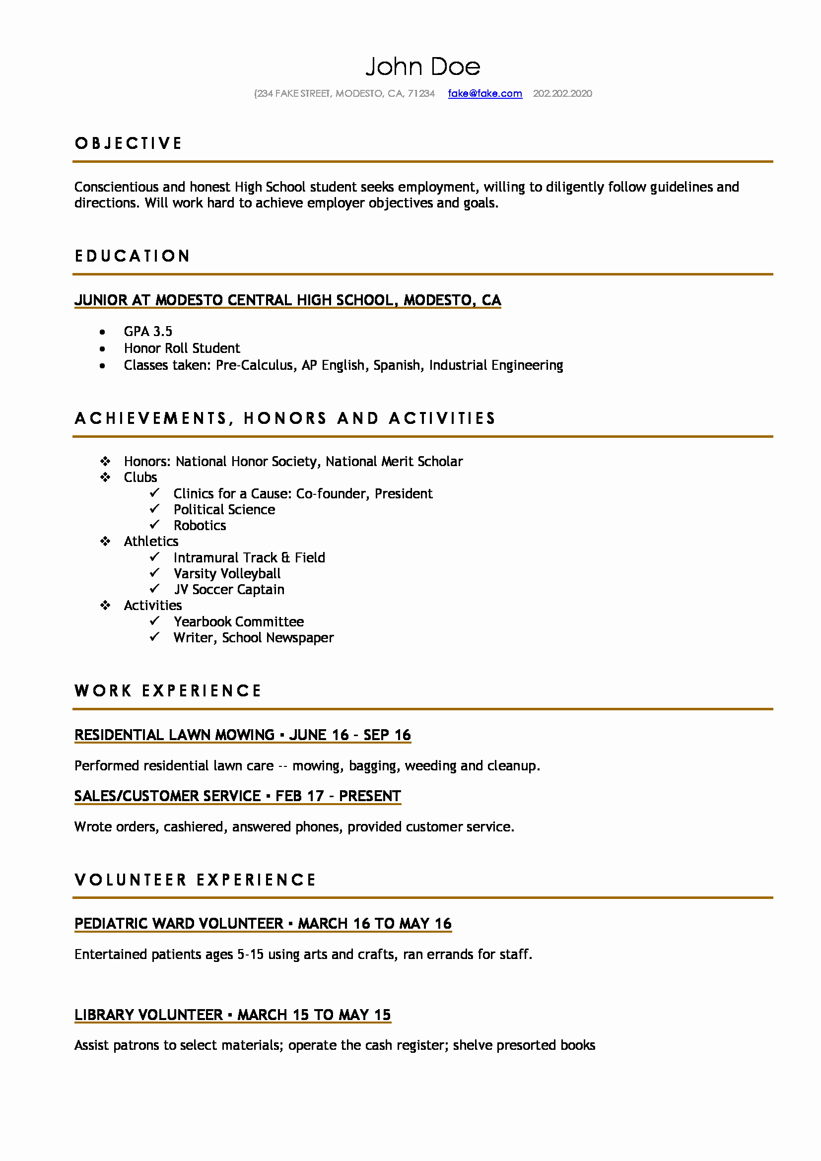 A Template for A Resume Luxury High School Resume Resumes Perfect for High School Students