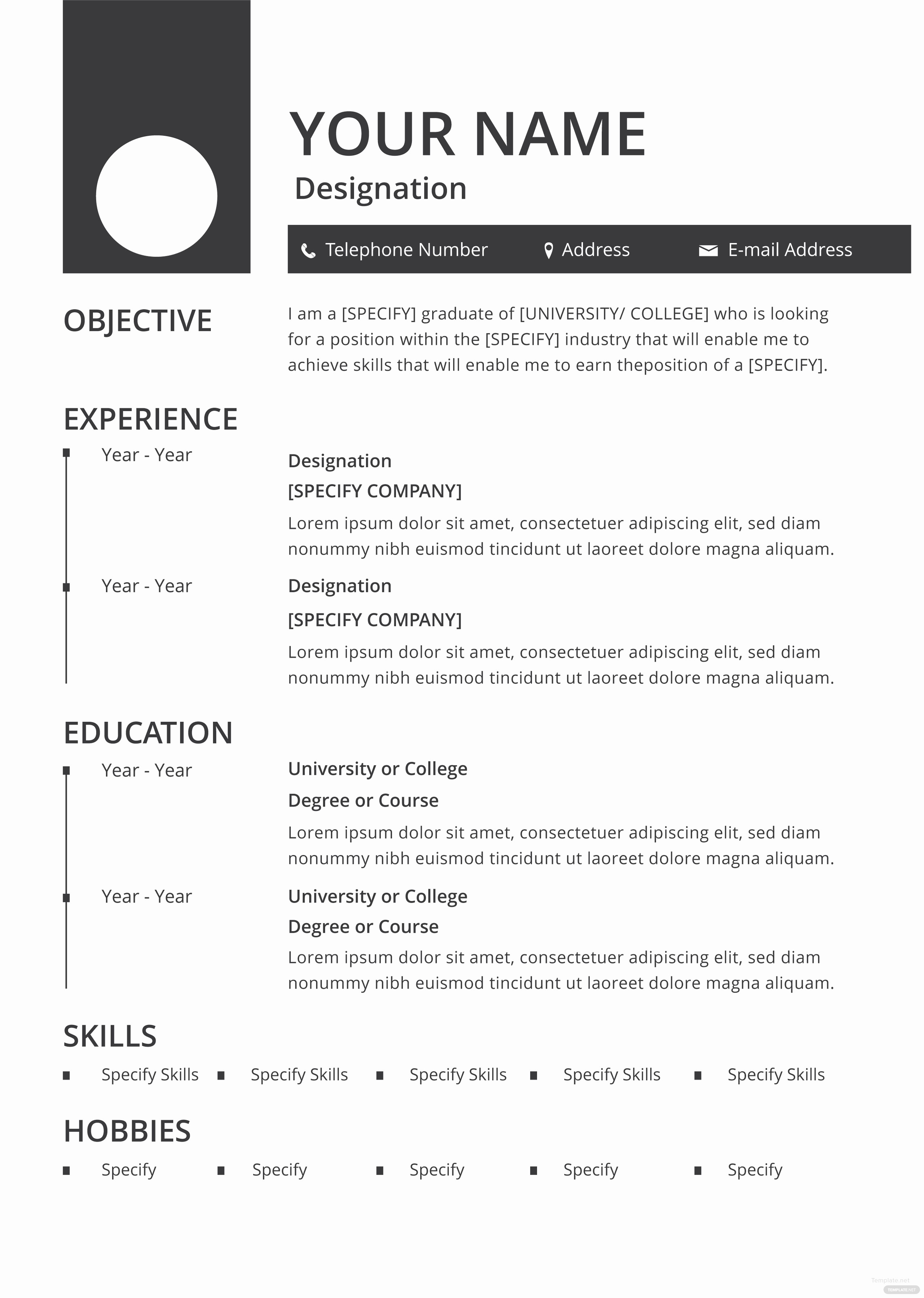 A Template for A Resume New Free Blank Resume and Cv Template In Adobe Shop
