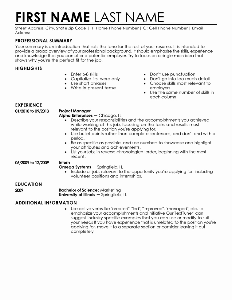 A Template for A Resume New Free Professional Resume Templates