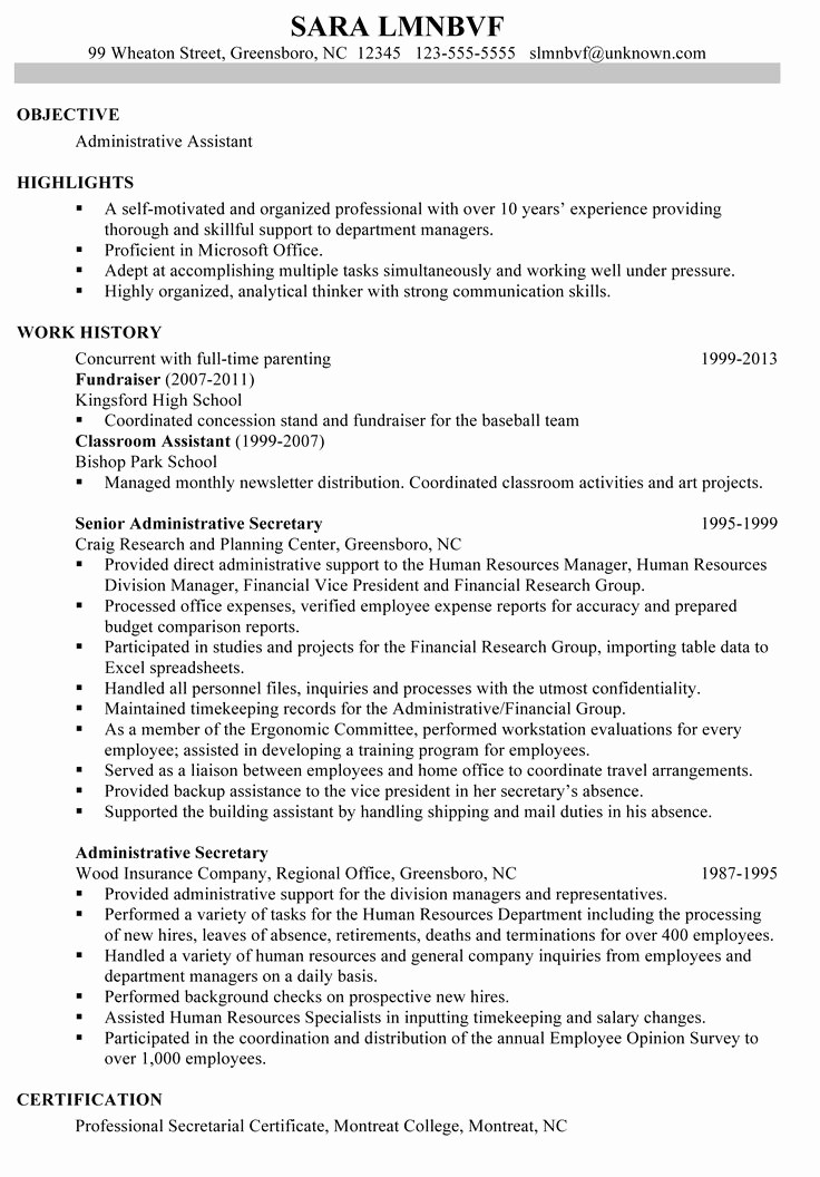 A Template for A Resume New Great Administrative assistant Resumes
