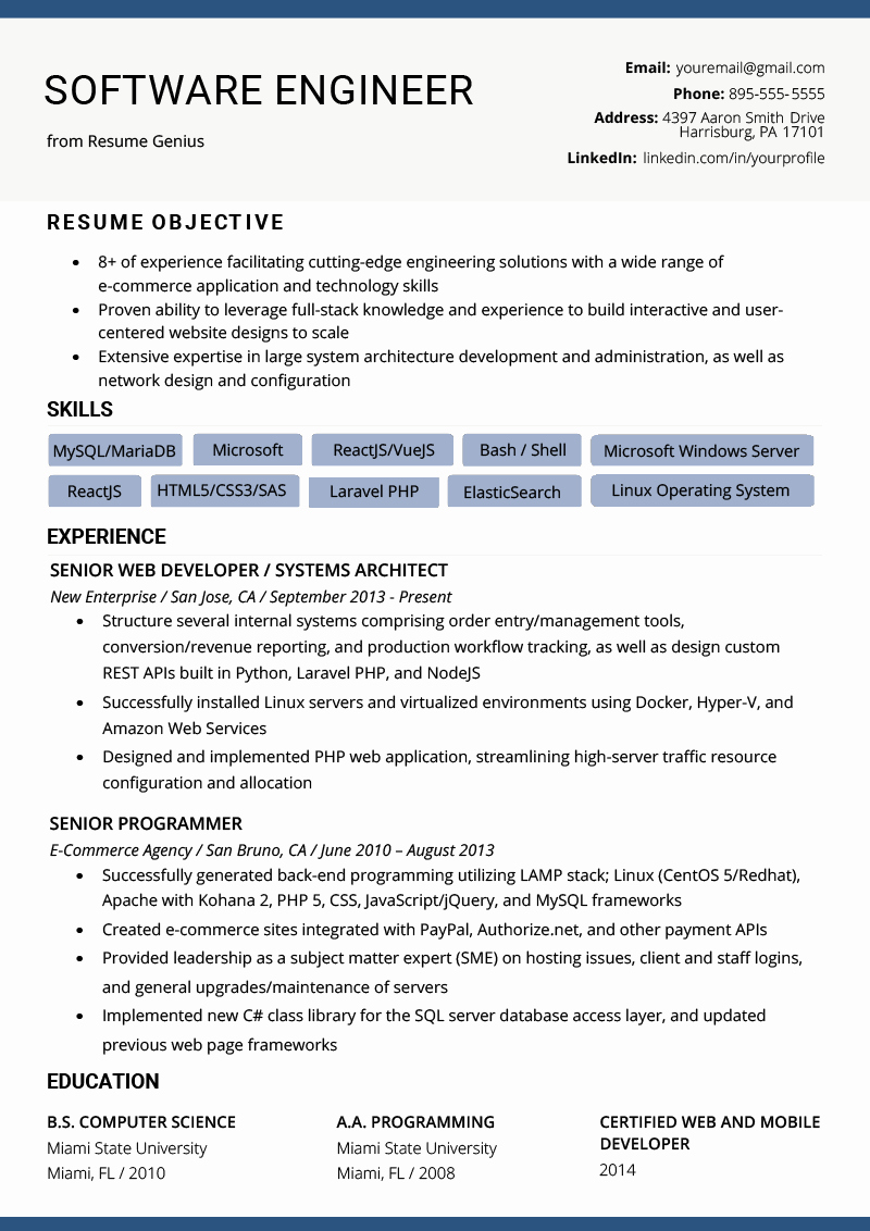A Template for A Resume Unique software Engineer Resume Example & Writing Tips