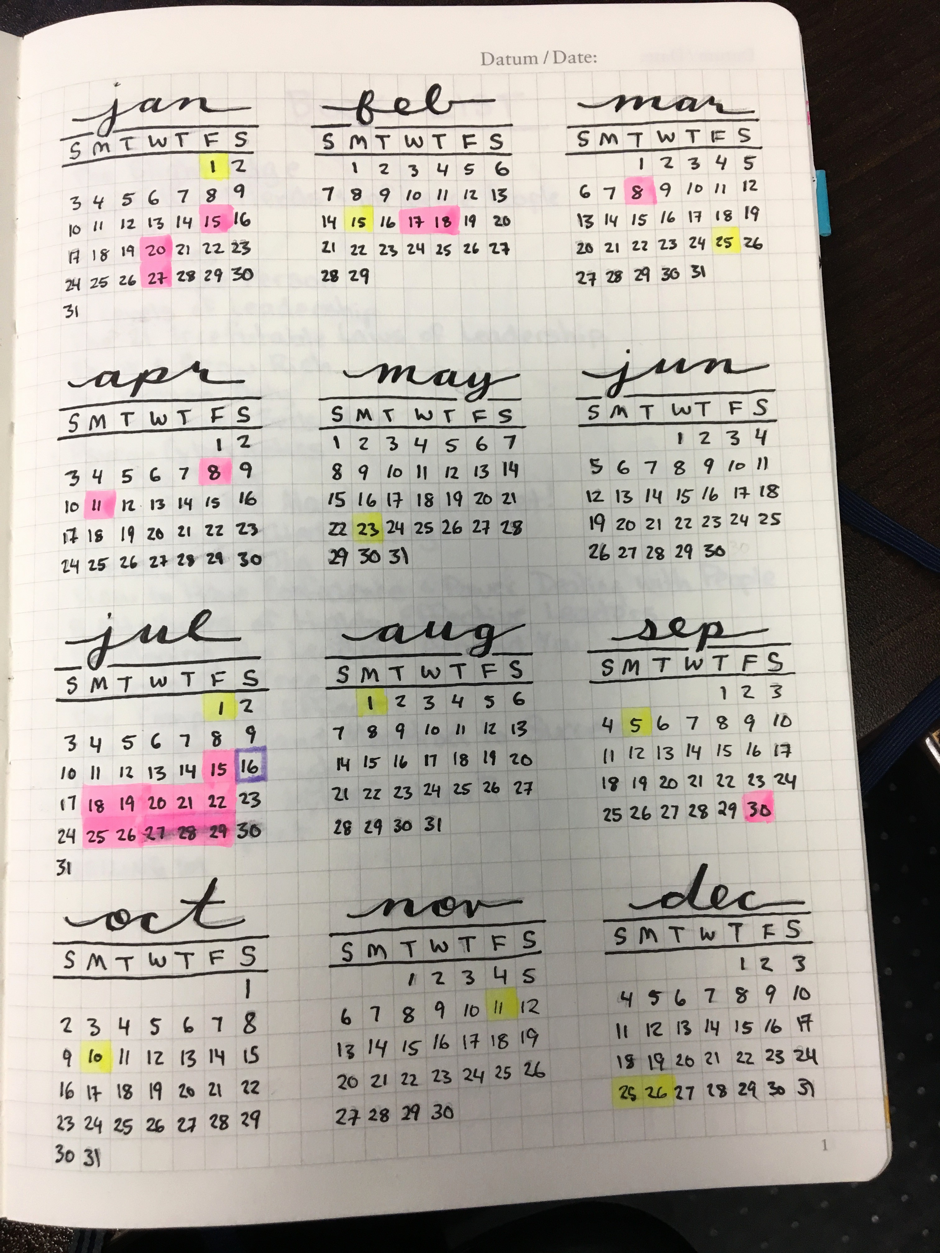 A Year at A Glance Awesome Bullet Journal Flip Through – Sun Spirited