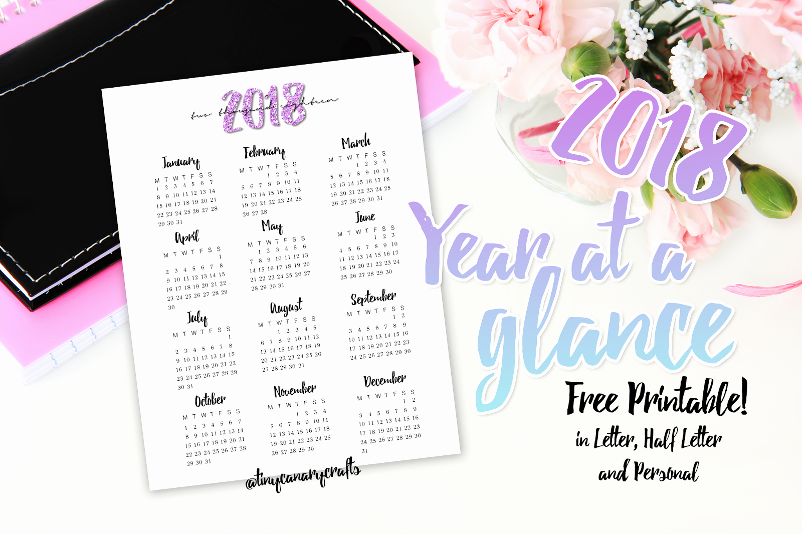 A Year at A Glance Awesome Free Printable 2018 Year at A Glance Letter Half