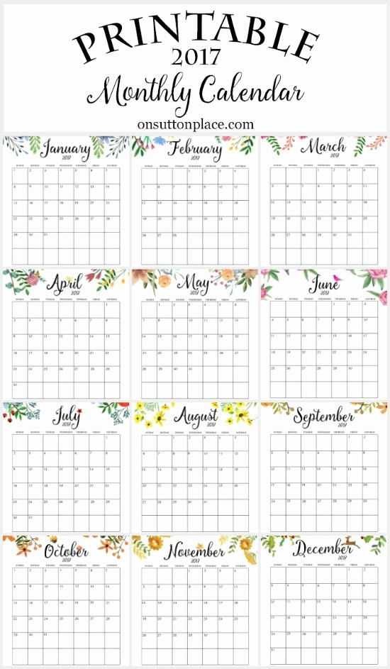 A Year at A Glance Beautiful 2017 Free Printable Monthly Calendar Sutton Place