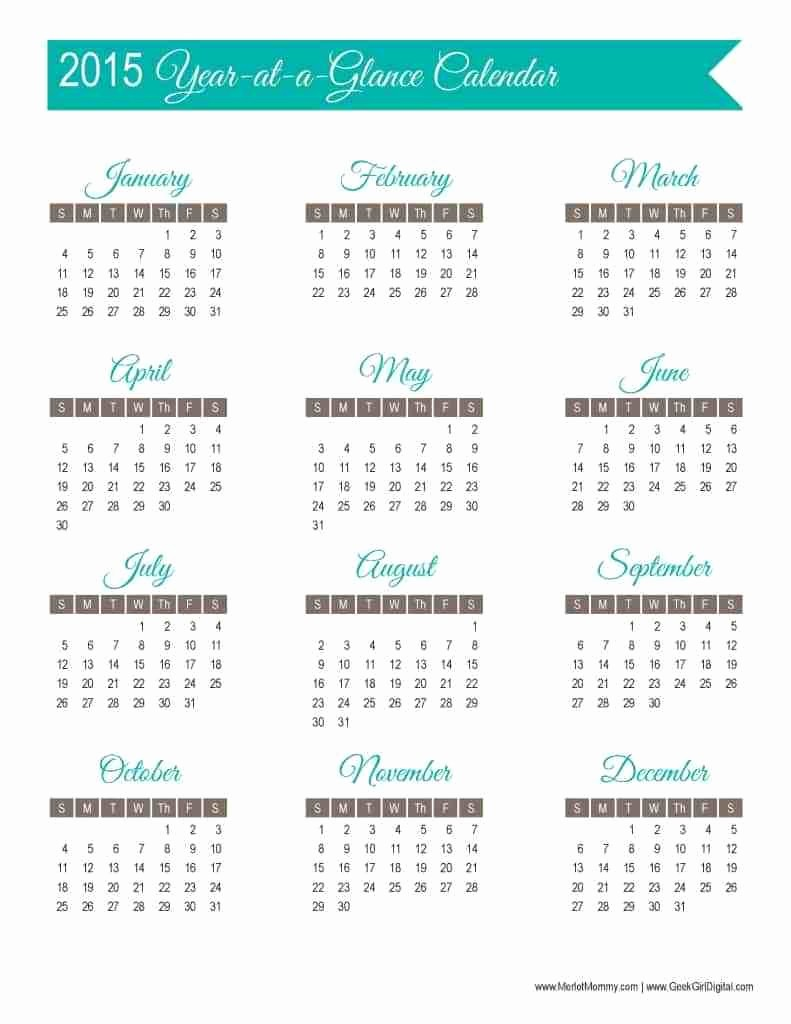 A Year at A Glance Beautiful 30 Days Of Free Printables 2015 Year at A Glance Calendar