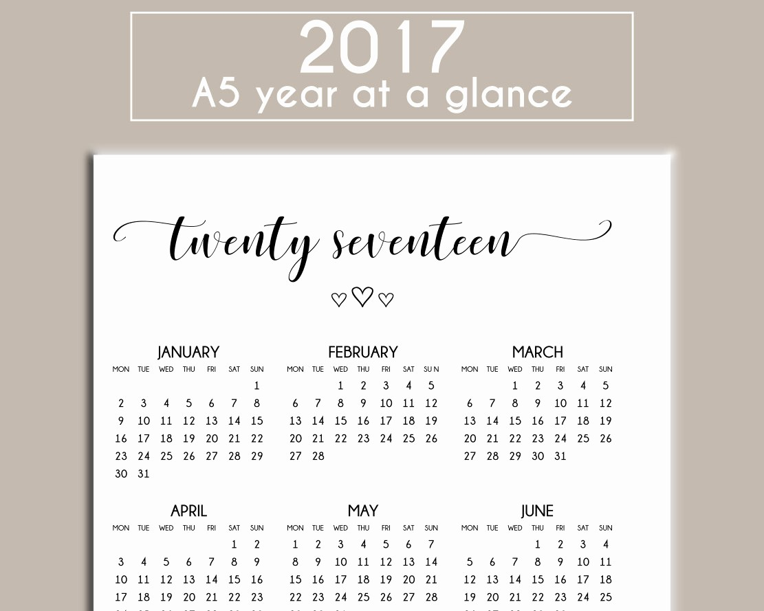 A Year at A Glance Beautiful A5 2017 Printable Year at A Glance Calendar Planner Insert