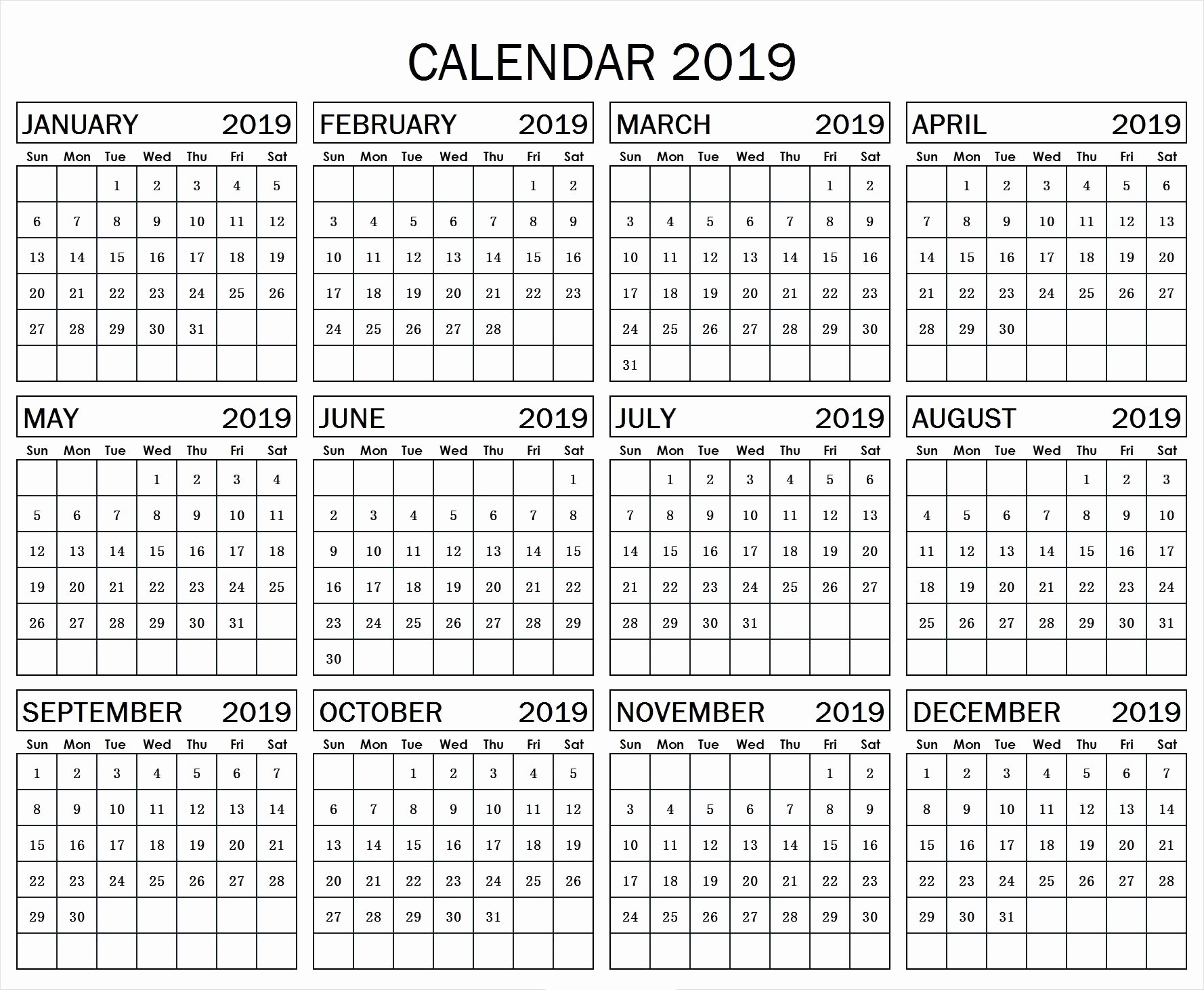 A Year at A Glance Beautiful Gallery 2019 Calendar Template Year at A Glance Calendar
