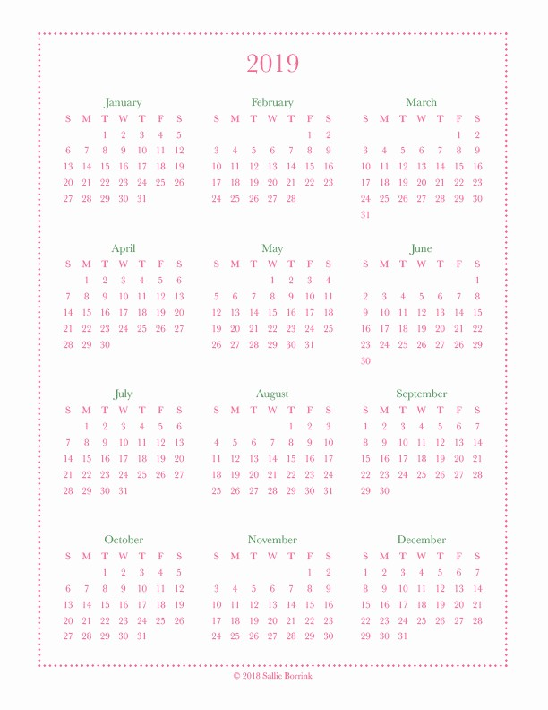 A Year at A Glance Best Of Free Year at A Glance Calendar Printables Sallieborrink