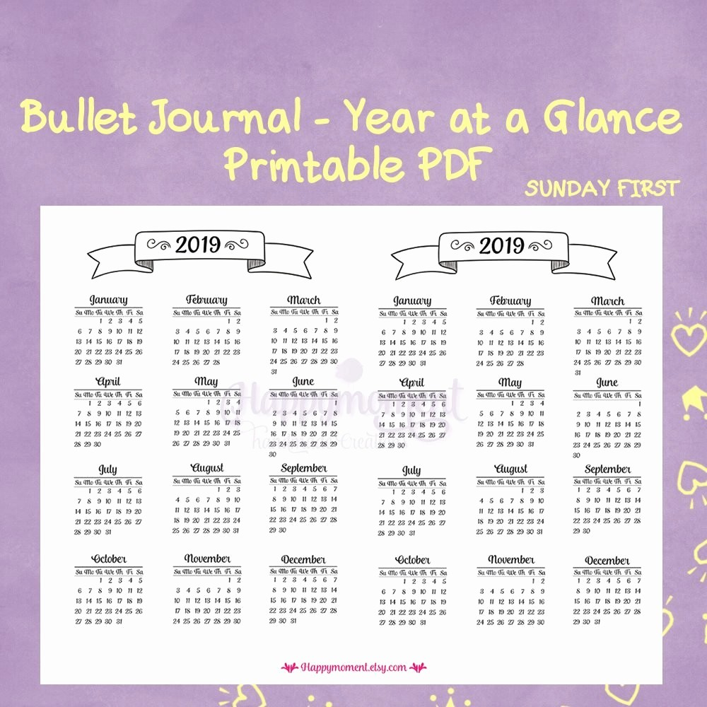 A Year at A Glance Best Of Lovely Year at A Glance Printable Calendar 2019