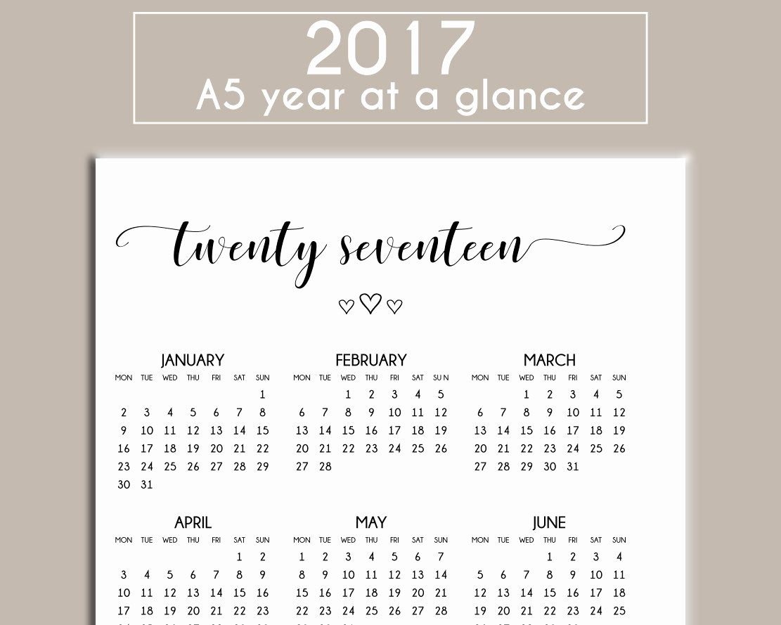 A Year at A Glance Elegant A5 2017 Printable Year at A Glance Calendar Planner Insert