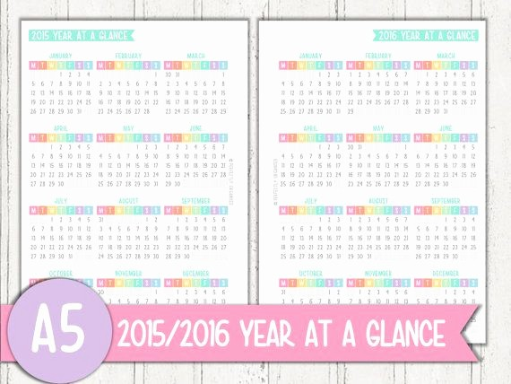 A Year at A Glance Elegant A5 Half Letter 2015 2016 Year at A Glance by