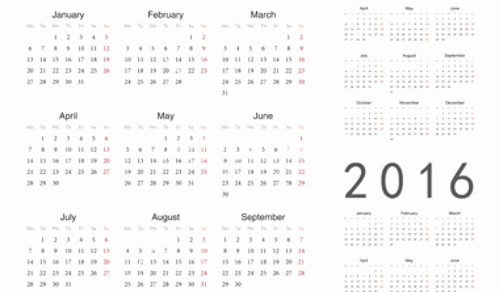 A Year at A Glance Lovely 2016 Printable Calendar Year at A Glance – Calendar