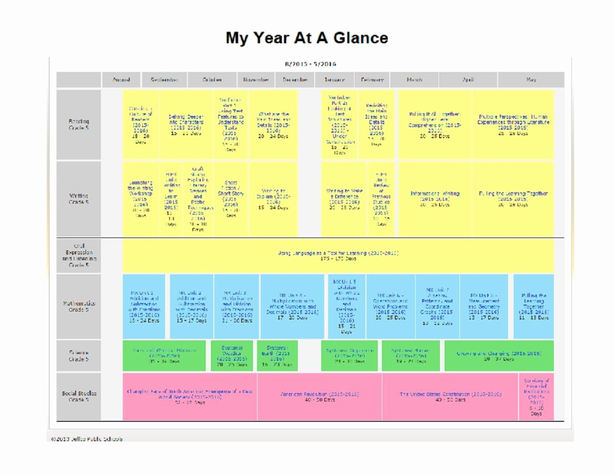A Year at A Glance Lovely Curriculum 5th Grade Year at A Glance Westwood Classroom