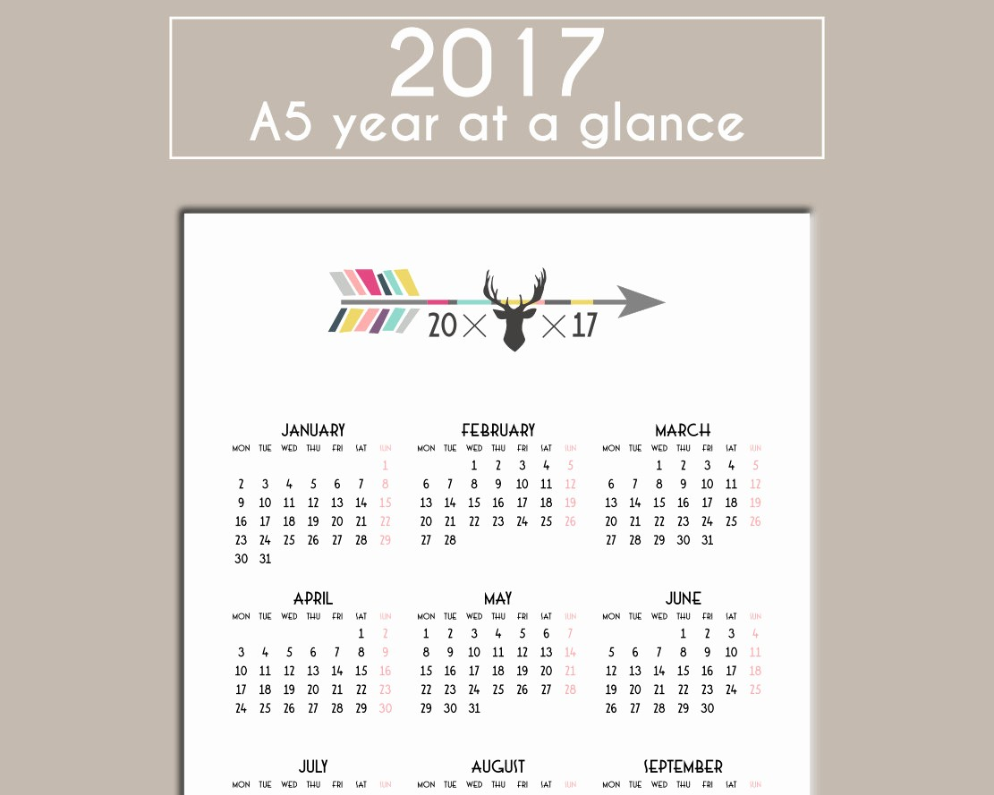 A Year at A Glance New 2017 A5 Year at A Glance Calendar Year Overview Planner Insert