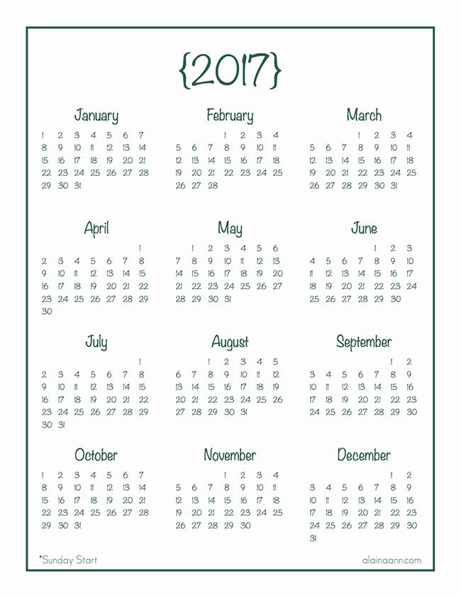 A Year at A Glance New 2017 Year at A Glance Calendar Free Printable Alaina