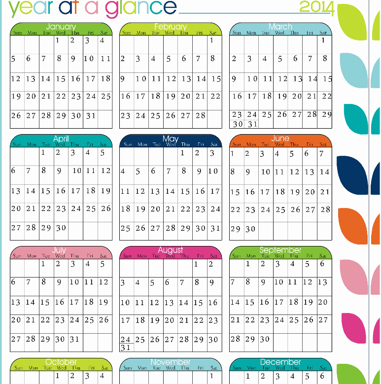 A Year at A Glance Unique 2017 Calendar Year at A Glance Calendar Template 2018