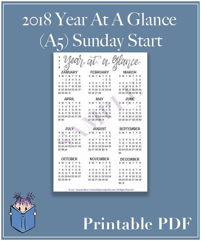 A Year at A Glance Unique 2018 Year at A Glance – Sunday Start – Printable Pdf – A5