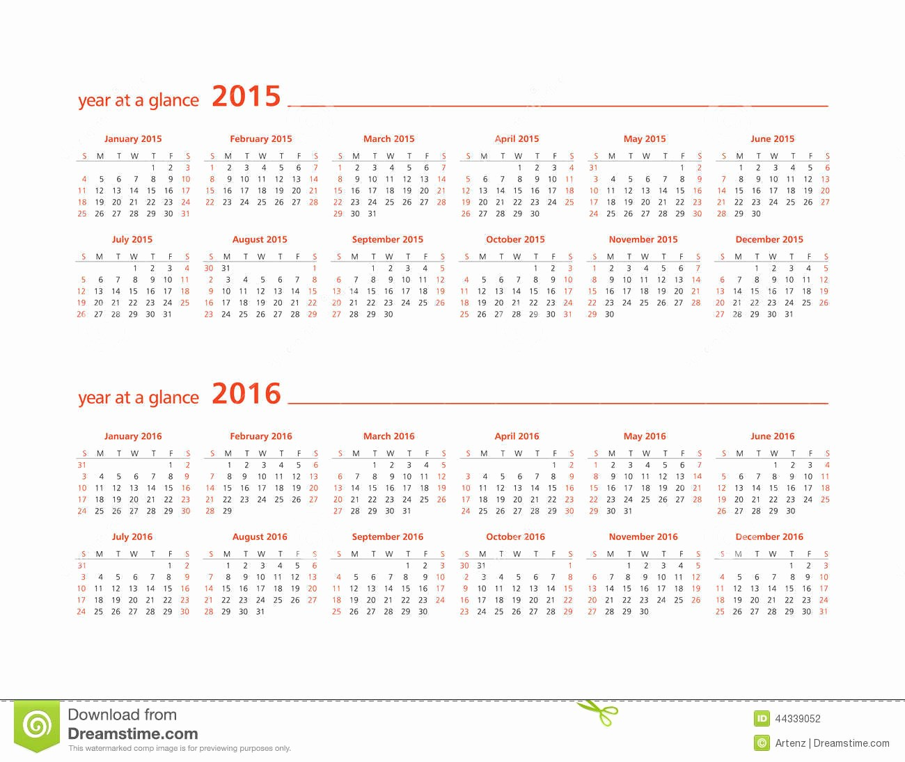 A Year at A Glance Unique Year at A Glance Wall Calendar 2015