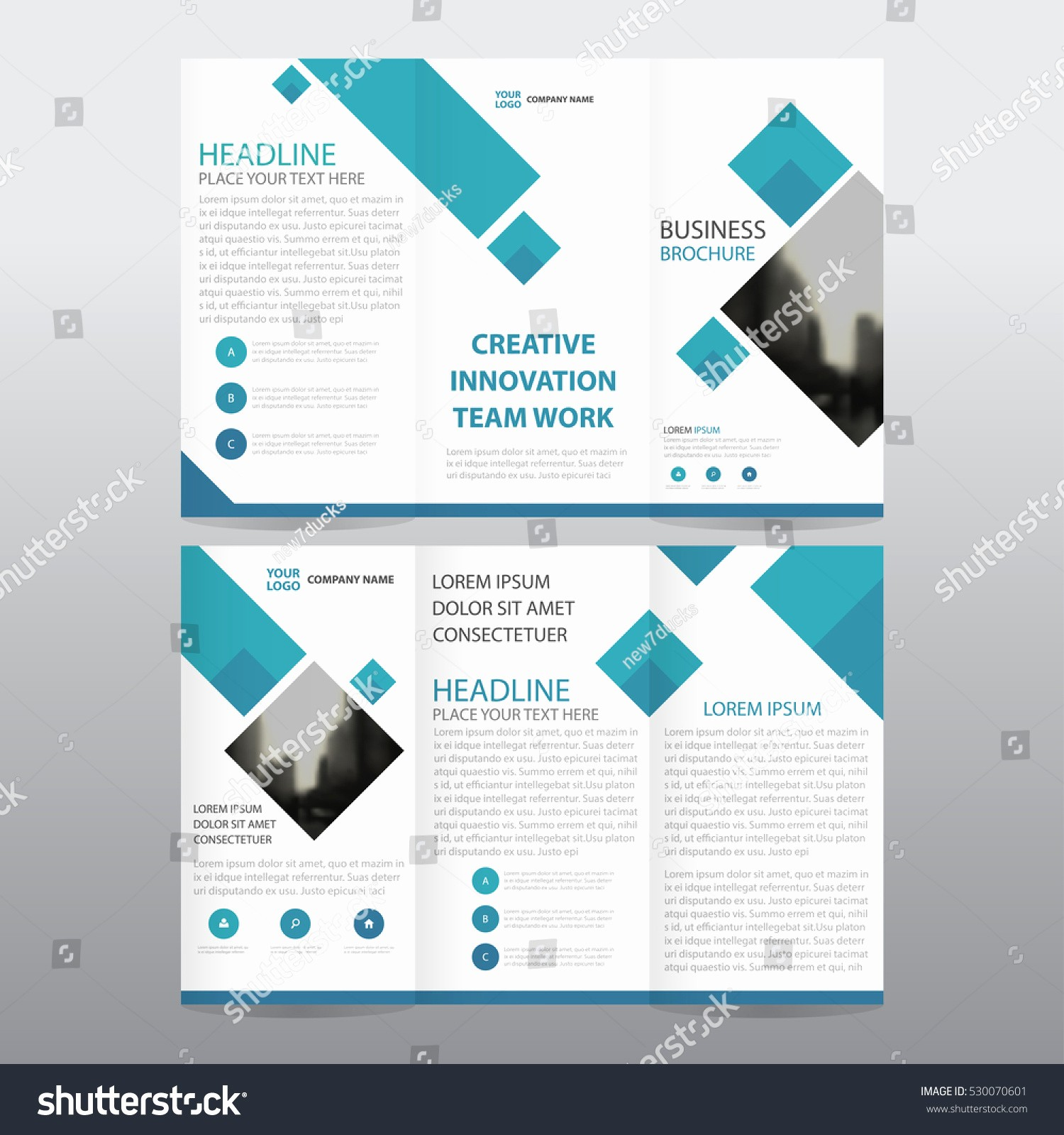 A4 Tri Fold Brochure Template Best Of Blue Square Business Tri Fold Leaflet Stock Vector
