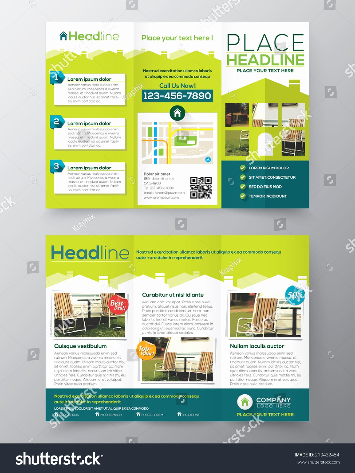 A4 Tri Fold Brochure Template Elegant Real Estate Brochure Flyer Design Vector Template In A4