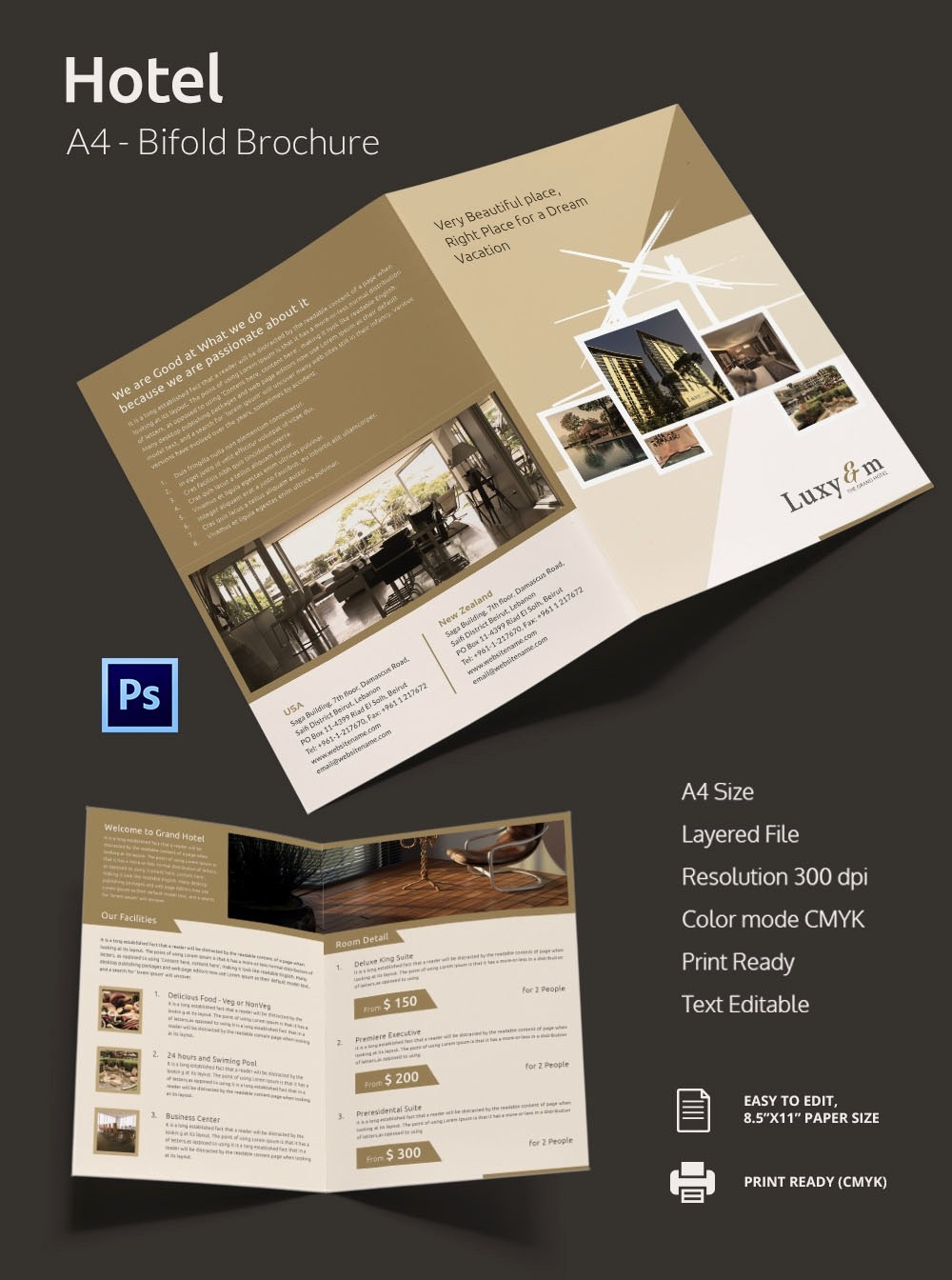A4 Tri Fold Brochure Template Fresh 14 Popular Psd Hotel Brochure Templates
