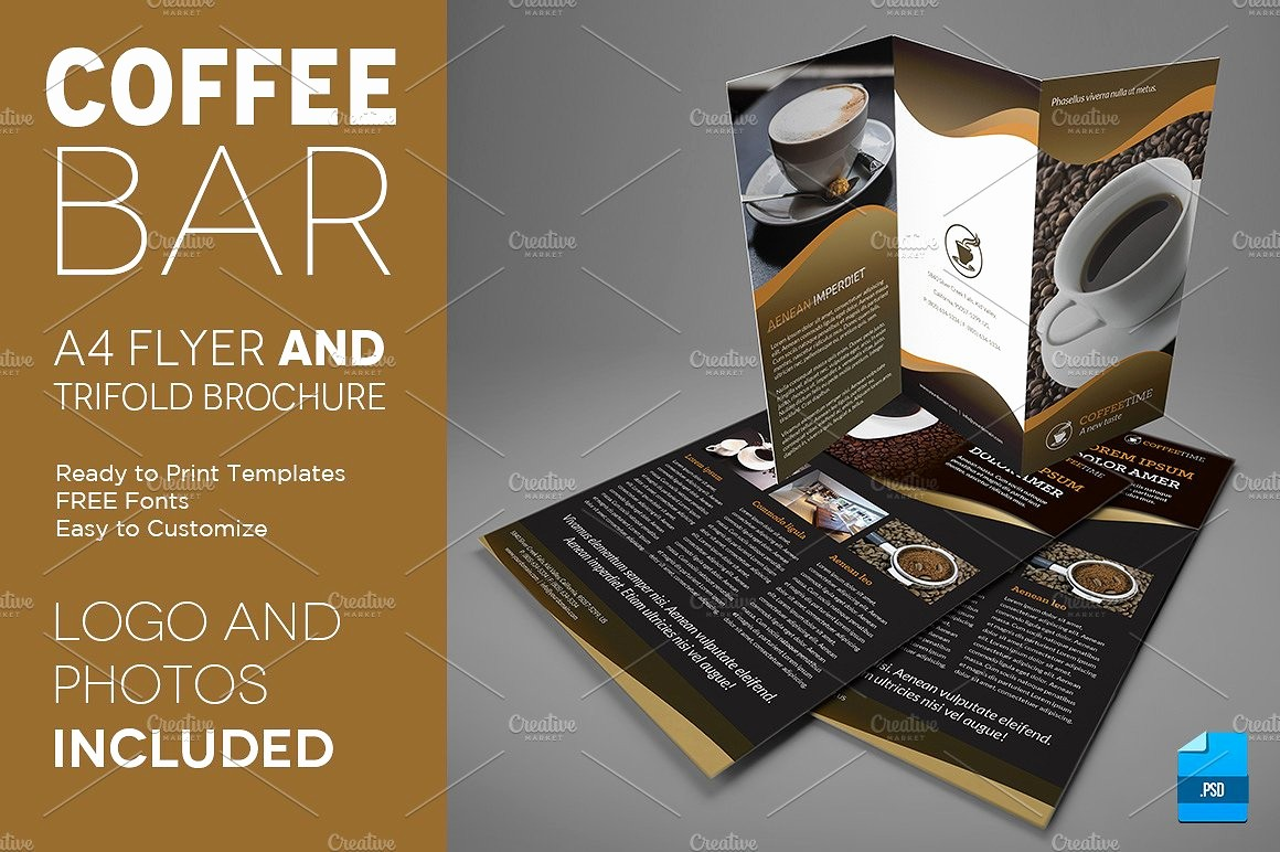 A4 Tri Fold Brochure Template Lovely Coffee A4 Trifold Brochure and Flyer Flyer Templates