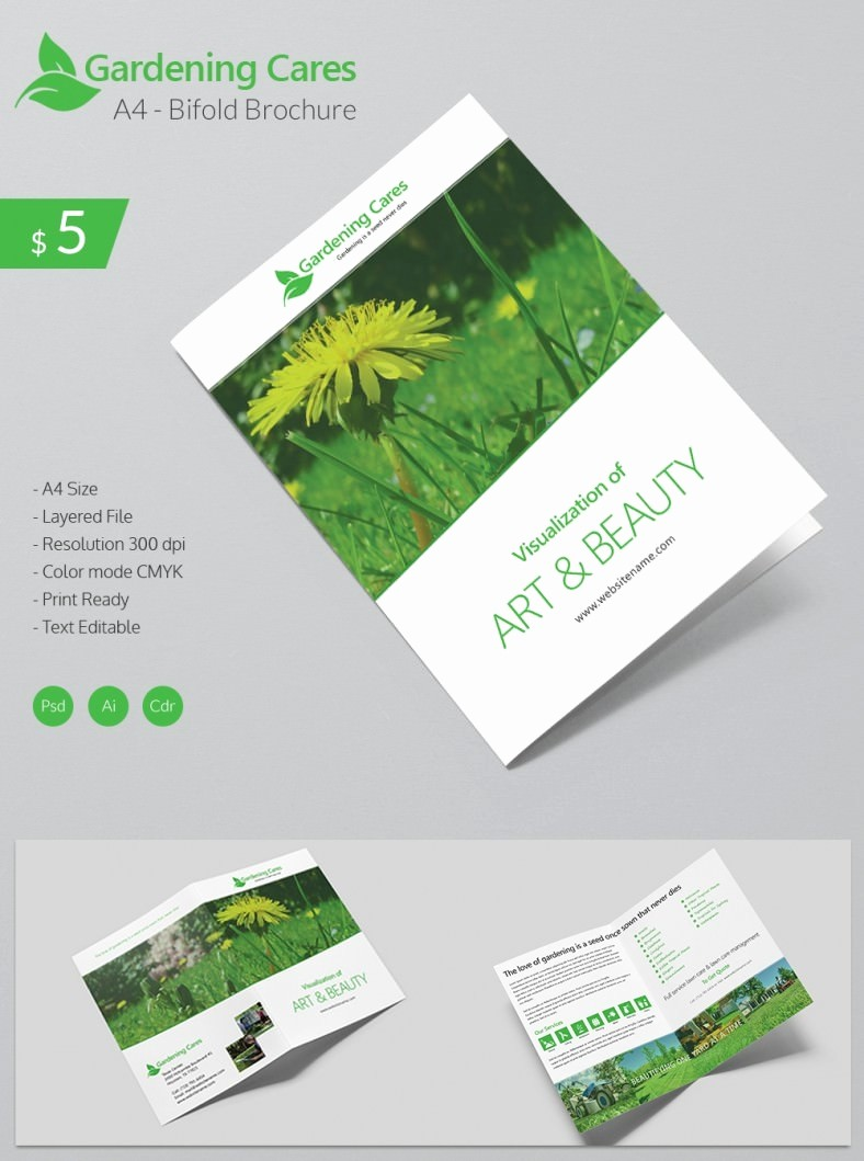 A4 Tri Fold Brochure Template Unique Beautiful Gardening Care A4 Bi Fold Brochure Template