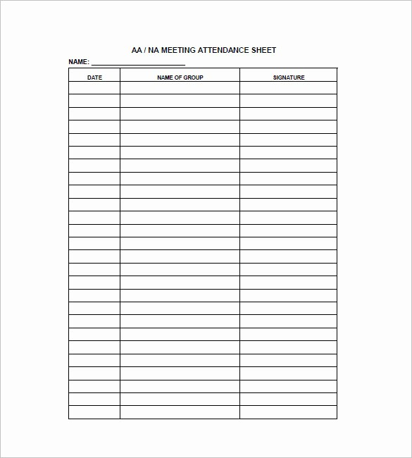 Aa Meetings Sign In Sheet Best Of Aa Meeting attendance Sheet Template to Pin On