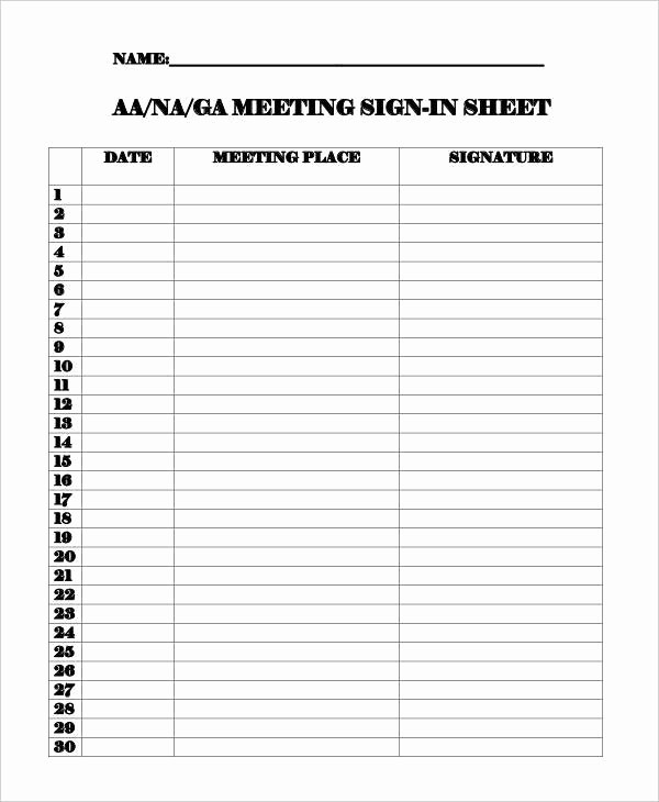 Aa Meetings Sign In Sheet Inspirational 11 Sign In Sheet Samples & Templates