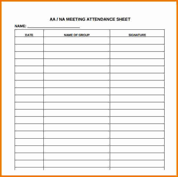 Aa Meetings Sign In Sheet Lovely Aa Meeting attendance Sheet Free Download Aashe