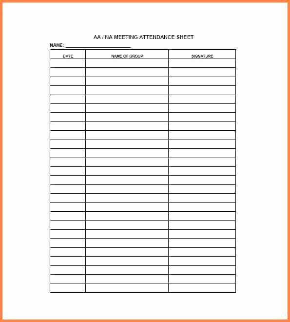 Aa Sign In Sheet Printable Beautiful 15 Aa Meeting Sign In Sheet