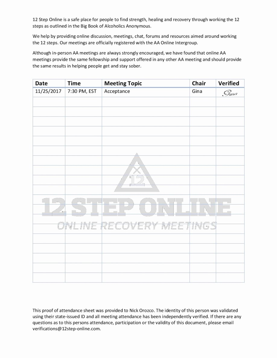 Aa Sign In Sheet Printable Elegant Aa Meeting Sign In Sheet and with Na Plus Pdf to Her