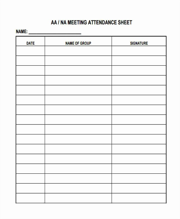 Aa Sign In Sheet Printable Lovely Printable Aa attendance
