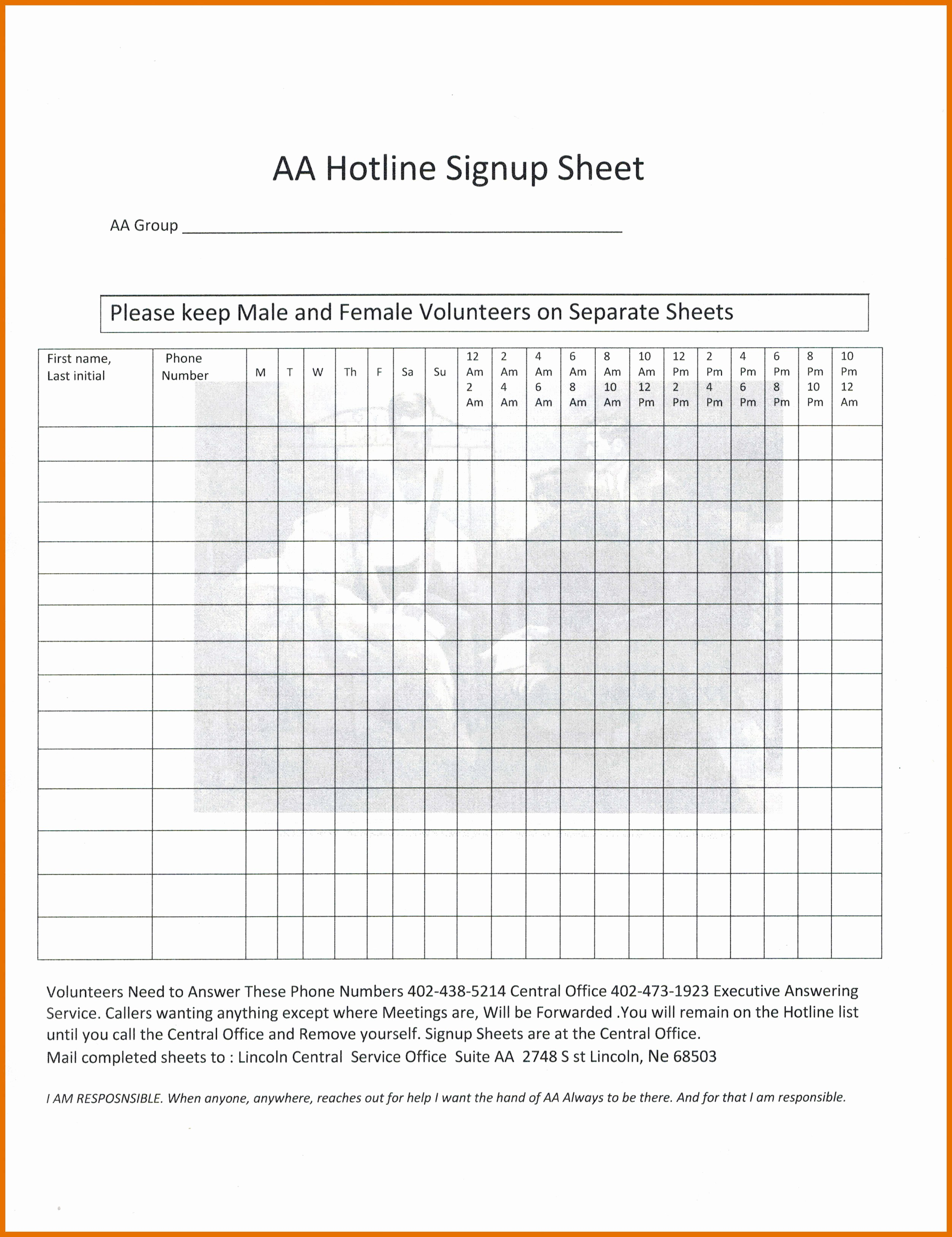 Aa Sign In Sheet Template Best Of 1 2 Aa Sign In Sheet