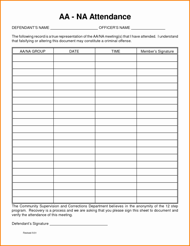 Aa Sign In Sheet Template Inspirational Aa Meeting attendance Sheet Free Download Aashe