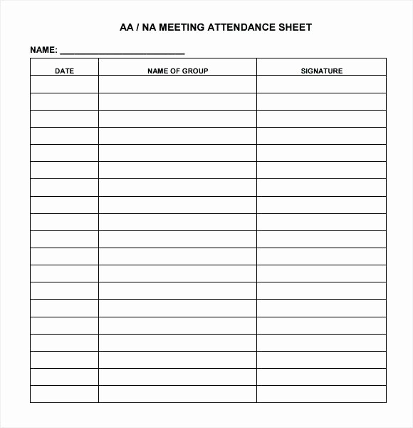 Aa Sign In Sheet Template Lovely 13 Aa Meeting Sign In Sheet