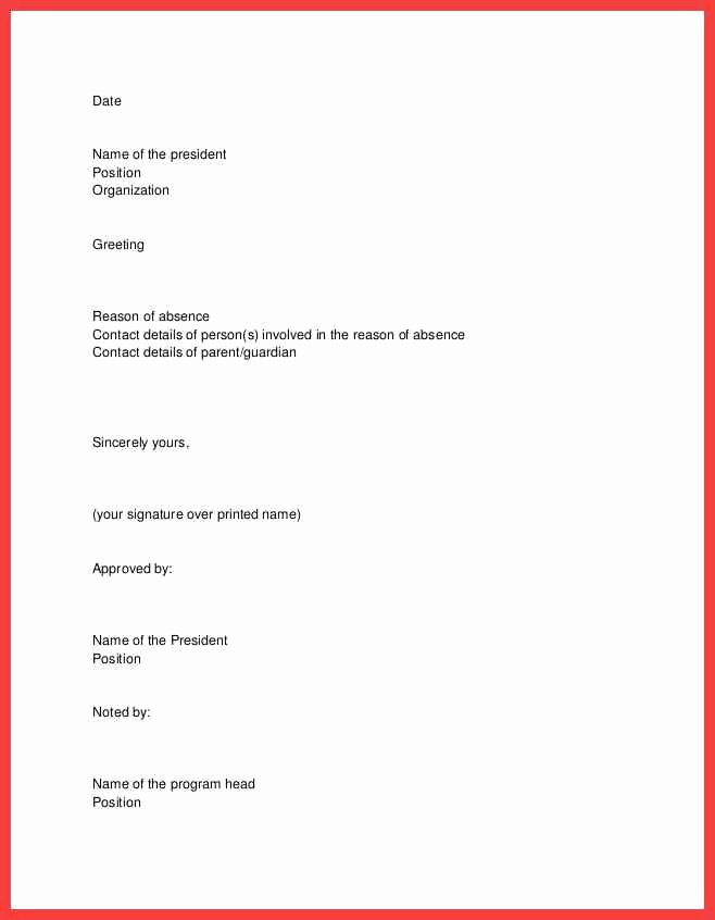 Absence Excuse Letters for School Awesome School Excuse Letter Sample