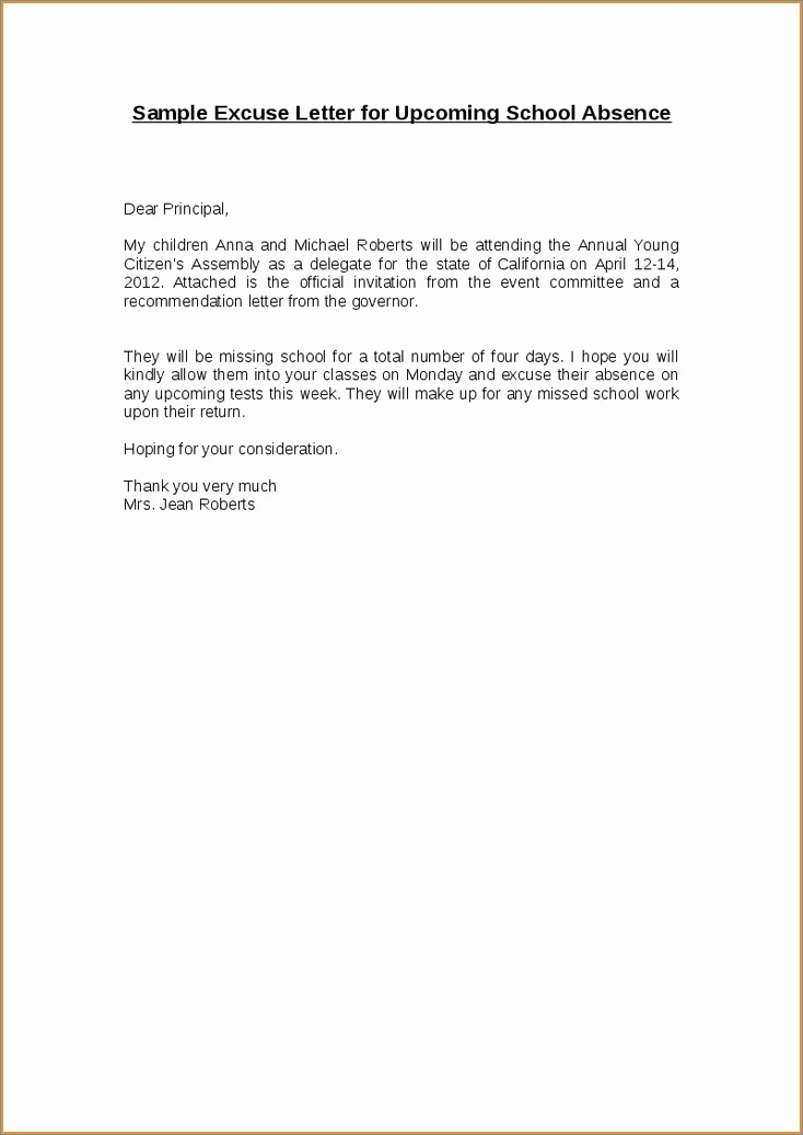 Absence Excuse Letters for School Elegant 10 Excuse Letter for Being Absent In College Due to