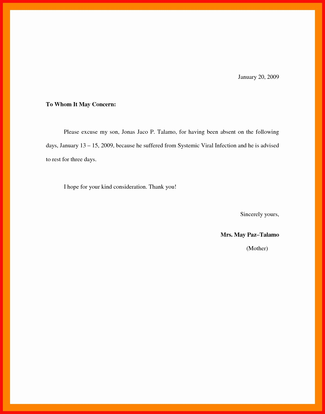 Absence Excuse Letters for School Fresh 12 13 Sample Of Excuse Letter In School