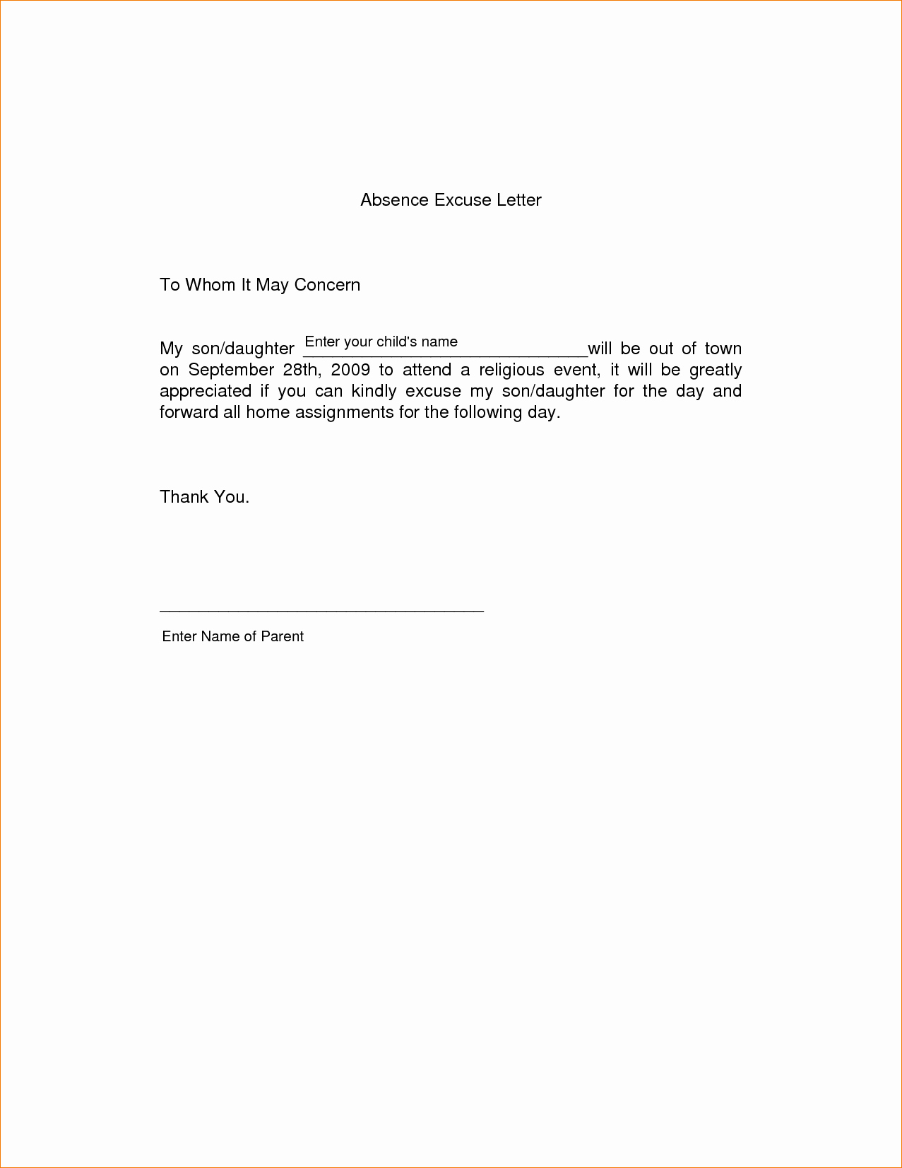Absence Excuse Letters for School Inspirational 11 Absence Excuse Letteragenda Template Sample