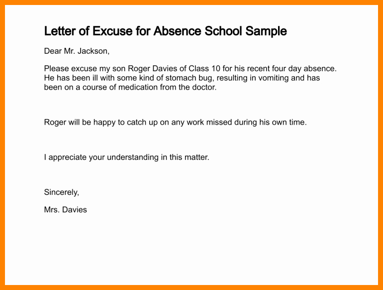 Absence Excuse Letters for School Luxury 4 5 Excuse Letter for School for Being Sick