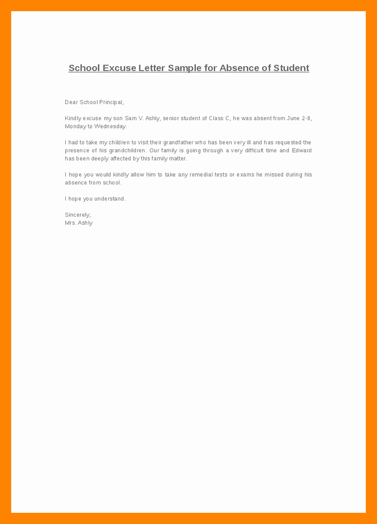 Absence Excuse Letters for School Luxury 8 Excuse Letter for Absent