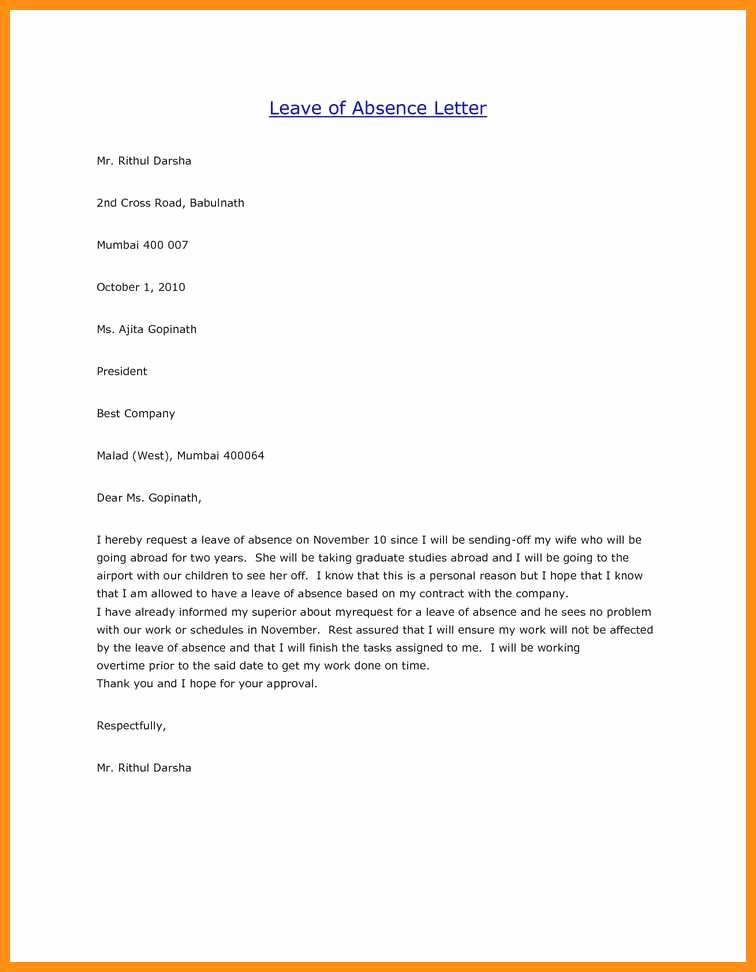Absence From School Letter Sample Awesome 4 5 Excuse Letter for Being Absent at School