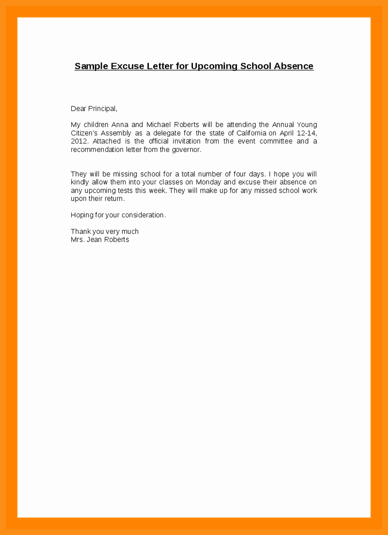 Absence From School Letter Sample Awesome 9 10 Excuse Letter for Absence In School