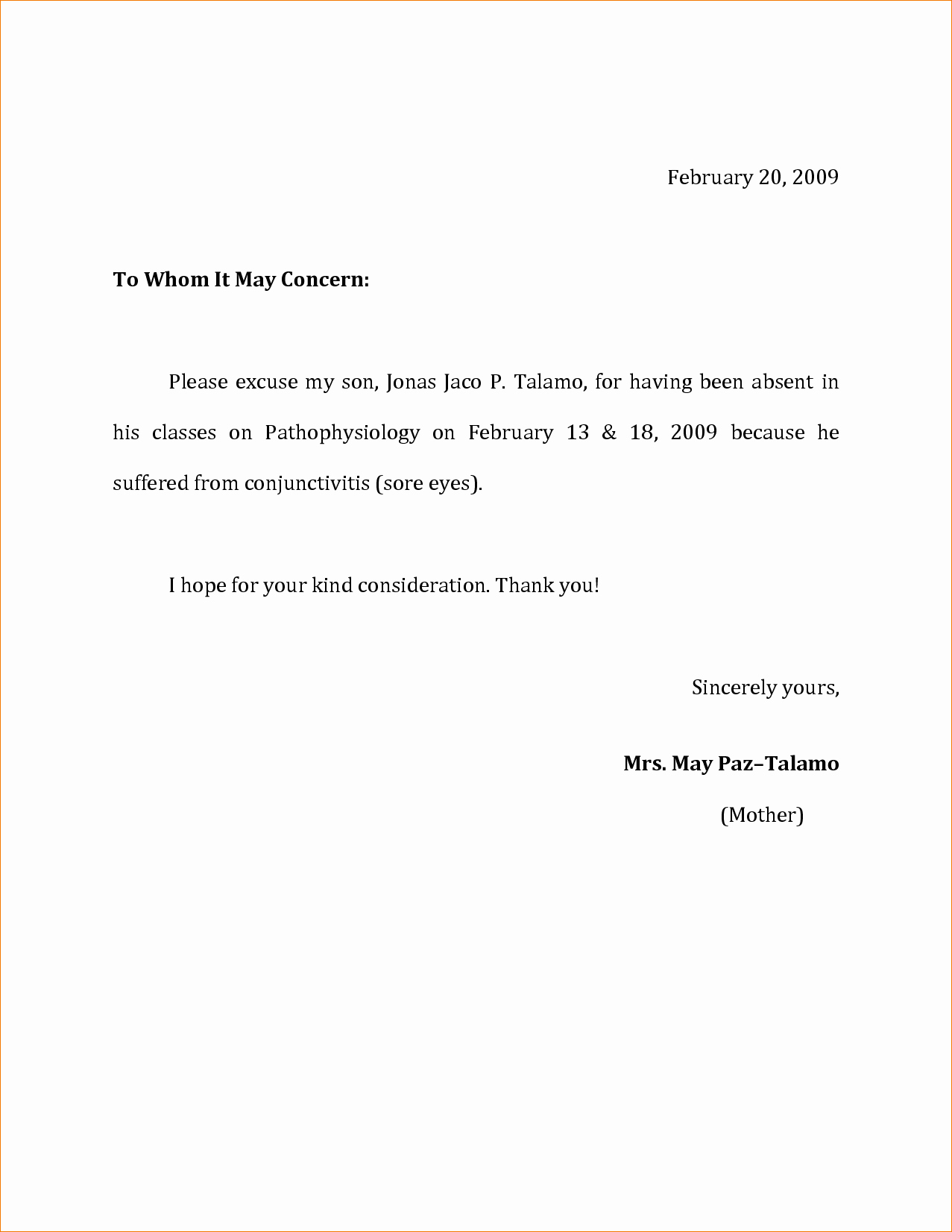 Absence From School Letter Sample Elegant 11 Absence Excuse Letteragenda Template Sample