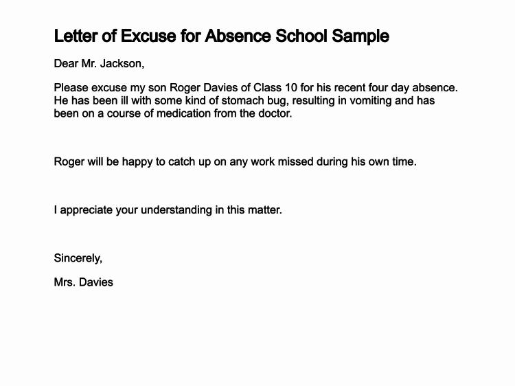 Absence From School Letter Sample Elegant 2 3 Letter Of Absent From School Sample